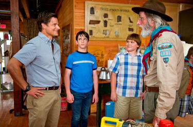 Steve Zahn as Frank, Zachary Gordon as Greg, Robert Capron as Rowley and Frank C. Turner as Troop Master Barrett in &quot;Diary of a Wimpy Kid: Dog Days.&quot;