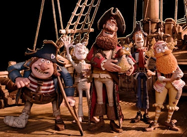 Pirate with Gout voiced by Brendan Gleeson, Albino Pirate voiced by Russell Tovey, Pirate Captain voiced by Hugh Grant, Pirate with Scarf voiced by Martin Freeman and Surprisingly Curvaceous Pirate voiced by Ashley Jensen in &quot;Pirates! Band of Misfits.&quot;