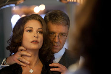 Catherine Zeta-Jones and Russell Crowe in &quot;Broken City.&quot;