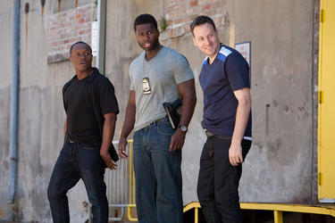 "Malcolm Goodwin as AD, 50 Cent as Malo and Ryan O'Nan as Lucas in ""Freelancers."""