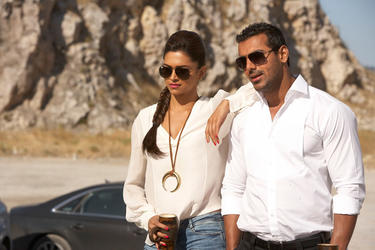 Deepika Padukone and John Abraham in &quot;Race 2.&quot;