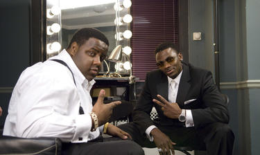 Jamal Woolard as Notorious B.I.G. and Derek Luke as Sean Combs in &quot;Notorious.&quot;