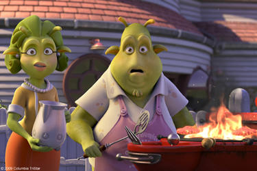 "A scene from the film ""Planet 51."""
