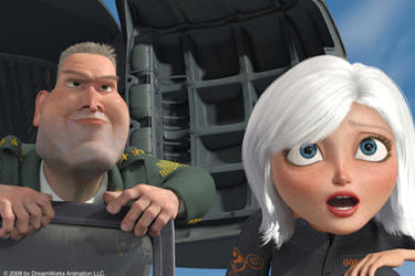 "Gen. W.R. Monger and Ginormica in ""Monsters vs. Aliens: An IMAX 3D Experience."""