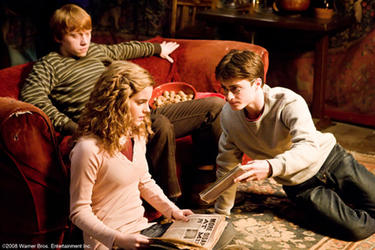 Rupert Grint as Ron Weasley, Emma Watson as Hermione Granger and Daniel Radcliffe as Harry Potter in &quot;Harry Potter and The Half-Blood Prince.&quot;