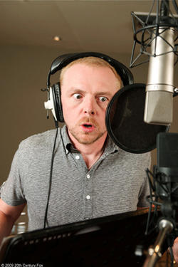 Simon Pegg on the set of &quot;Ice Age: Dawn of the Dinosaurs.&quot;