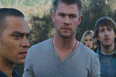 Jesse Williams as Holden McCrea, Chris Hemsworth as Curt Vaughan, Anna Hutchison as Jules Louden and Fran Kranz as Marty Mikalski in ``The Cabin in the Woods.&#39;&#39;