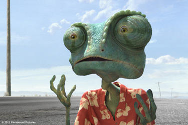 Rango voiced by Johnny Depp in &quot;Rango.&#39;&#39;
