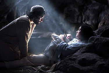 Joseph (Oscar Isaac), Mary (Keisha Castle-Hughes) and baby Jesus in &quot;The Nativity Story.&quot;