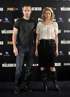"Andrew Lincoln and Laurie Holden at the photocall of ""The Walking Dead."""