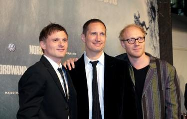 "Florian Lukas, Benno Furmann and Simon Schwarz at the premiere of ""Nordwand."""