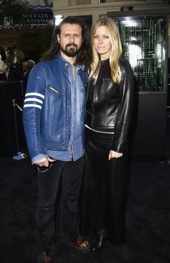 "Rob Zombie and Sheri Moon at the premiere of ""The Matrix Reloaded."""