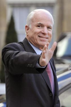 John McCain at the Elysee Palace in Paris.