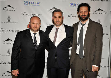 "Gareth Unwin, Iain Canning and Emile Sherman at the Weinstein Company and Alliance Pictures dinner for ""The King's Speech."""