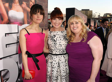 "Rose Byrne, Ellie Kemper and Rebel Wilson at the California premiere of ""Bridesmaids."""