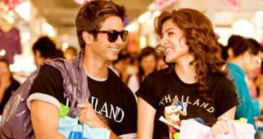 "Shahid Kapoor as Karan and Anushka Sharma as Bulbul in ""Badmaash Company."""