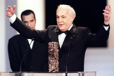 "Michel Serrault at the 21th Nuit des Cesar ceremony as he was awarded for thebest actor for the film ""Nelly et M.Arnaud""."