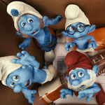 Grouchy, Gutsy, Brainy, Papa and Smurfette Smurf in 'The Smurfs.'