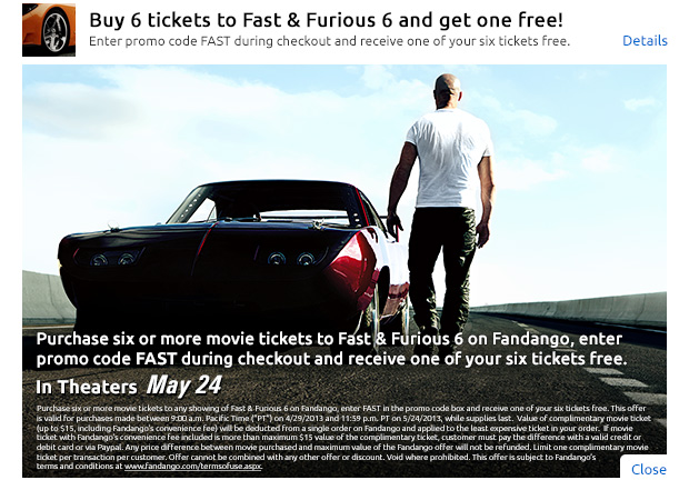 Fast & Furious 6 Free Ticket Offer