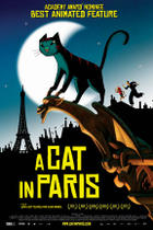 "Poster art for ""A Cat in Paris."""