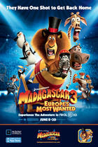 "Poster art for ""Madagascar 3: Europe's Most Wanted 3D."""