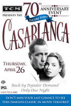 "Poster art for ""TCM Presents Casablanca 70th Anniversary Event Encore."""