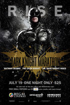 "Poster art for Regal's ""Dark Knight Marathon."""