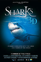 "Poster art for ""Sharks 3D."""