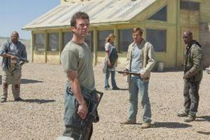 "Charles Dutton, Lucas Black, Adrianne Palicki, Dennis Quaid and Tyrese Gibson in ""Legion."""