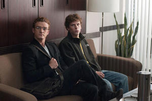 "Justin Timberlake as Sean Parker and Jesse Eisenberg as Mark Zuckerberg in ""The Social Network"""