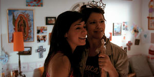 "Aimee Garcia as Carmen Salgado and Gina Rodriguez as Gina Esperanza in ""Go for It!"""