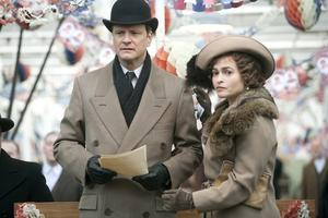 "Colin Firth as King George VI and Helena Bonham Carter as the Queen Mother in ""The King's Speech."""