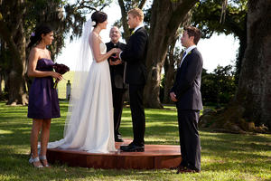 "Jessiza Szohr as Shelby, Mandy Moore as Eva, Kellan Lutz as Charlie and Michael Westion as Gerber in ""Love, Wedding, Marriage."""