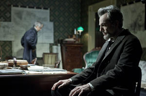 "David Strathairn as William Seward and Daniel Day-Lewis as president Abraham Lincoln in ""Lincoln."""