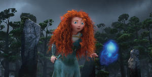 "Merida voice by Kelly Macdonald in ""Brave."""