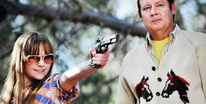 "Tara Lynne Barr and Joel Murray in ""God Bless America."""