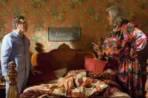 "Eugene Levy as George Needleman and Tyler Perry as Madea in ""Tyler Perry's Madea's Witness Protection."""