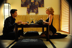 "Rob Lowe and Julie Bowen in ""Knife Fight."""