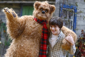 "Gooby (voice of Robbie Coltrane) and Matthew Knight as Willy in ""Gooby."""
