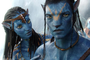 "Zoe Saldana as Neytiri and Sam Worthington as Jake Sully in ""Avatar."""