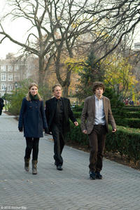 "Imogen Poots as Allyson, Michael Douglas as Ben and Jesse Eisenberg as Cheston in ""Solitary Man."""