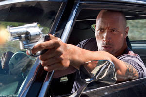 "Dwayne Johnson as Driver in ""Faster."""