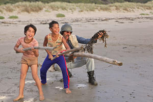 Te Aho Aho Eketone-Whitu as Rocky, James Rolleston as Boy and Taika Waititi as Alamein in ``Boy.''