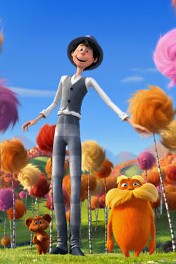 "Ted and the Lorax in ""Dr. Seuss' The Lorax."""