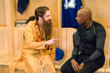 "Mike Myers as Guru Pitka and Romany Malco as Darren Roanoke in ""The Love Guru."""