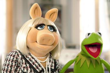 Miss Piggy and Kermit the Frog in ``The Muppets.''