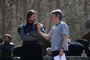 "Sean Bean and director Christopher Smith on the set of ""Black Death."""