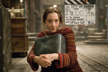 "Saoirse Ronan on the set of ""City of Ember."""