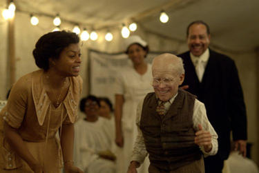 "Taraji P. Henson as Queenie and Brad Pitt as Benjamin Button in ""The Curious Case of Benjamin Button."""