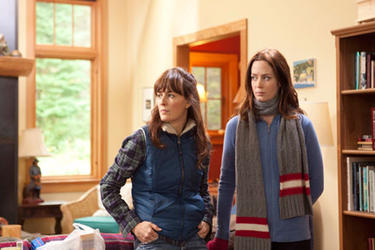Rosemarie DeWitt as Hannah and Emily Blunt as Iris in ``Your Sister's Sister.''